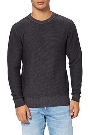 Blauer Gebreide trui met ronde hals voor heren.