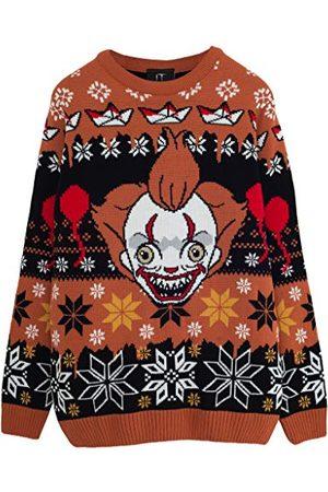 Popgear It: Chapter 2 Pennywise Gezicht Heren gebreide trui L | Halloween Kerstmis Jumper Ugly Sweater Fair Isle Xmas Gift Ideas Mens Clothing
