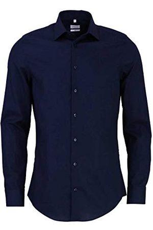 seidensticker Zakelijk overhemd voor heren, slim fit, strijkvrij, smal hemd met kentkraag, lange mouwen, 100% katoen, (donkerblauw 19), 41