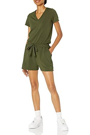 Daily Ritual Dames Supersoft Terry Korte mouw V-hals Romper,Olijf,L