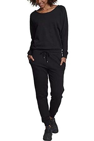 Urban classics Eendelige jumpsuit voor dames, met lange mouwen, gemaakt van aangename sweatstof van een joggingpak, (Black 00007), XS