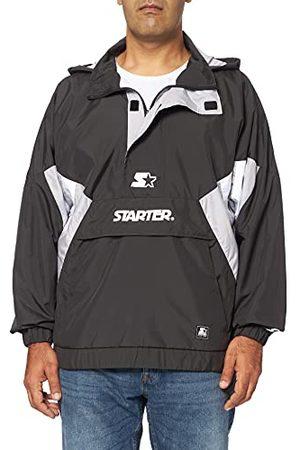 STARTER BLACK LABEL Windbreaker voor heren, met logo-print, windjack met buikzak, overtrekjas met halve rits en capuchon met trekkoordjes, , S tot XXL