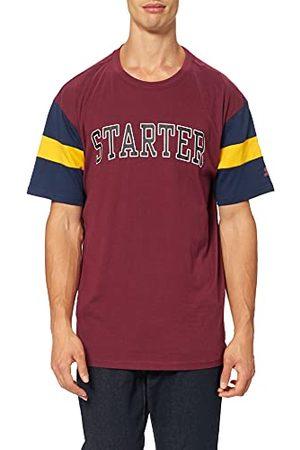 STARTER BLACK LABEL Heren Starter Throwback T-shirt, Port/Donkerblauw/Californiayellow, XXL