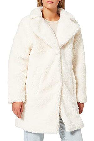 Urban classics Winterjas voor dames, oversized, sherpa-jas, jas met haak en oogsluiting, maat XS tot 5XL, witzand., L