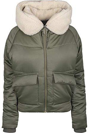 Urban classics Dames Sherpa Hooded Jacket Jacket, meerkleurig (dark-olive/darksand 01480), XL