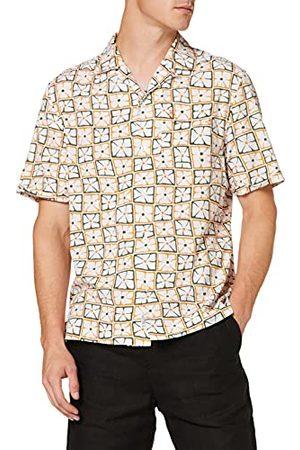 Original Pengun Heren Retro Bloemen Shirt Knop, Helder , S