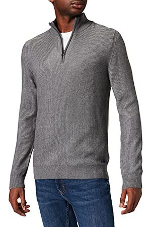 Pierre Cardin Heren Knit Stand-up Collar Zipp Bicolor Rib Structure Pullover