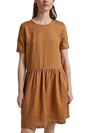 ESPRIT Van linnen: jurk met knoopdetails, camel, 42