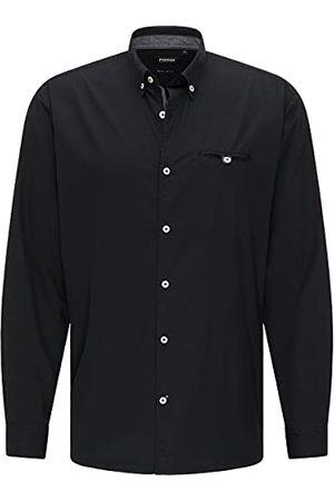 Pioneer Herenshirt met lange mouwen, solide overhemd met button-down-kraag, , XXL