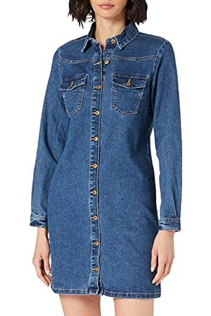 Pieces Vrouwelijke denim jurk Mini, (medium blue denim), S