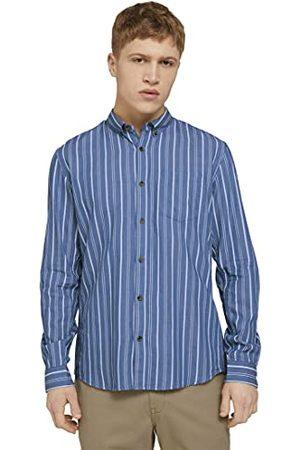 TOM TAILOR Herenoverhemd met lange mouwen, 26427 - Blue Irregular Bold, L