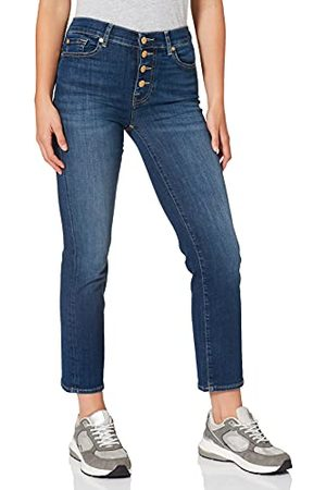 7 for all Mankind Dames The Straight Crop Bair Duchess With Exposed Knoppen Jeans