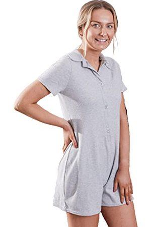 OHS Geborsteld Geribbelde Playsuit Korte Mouw Knop Womens Romper Mini Jumpsuit PJs, - Small