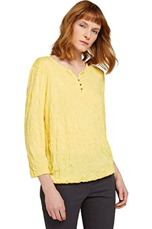 TOM TAILOR Henley Crincle T-shirt voor dames, 25833 - Smooth Yellow, XXL