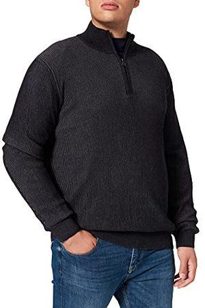 Pierre Cardin Heren Gebreide truien - Heren Knit Stand-up Collar Zipp Bicolor Rib Structure Pullover