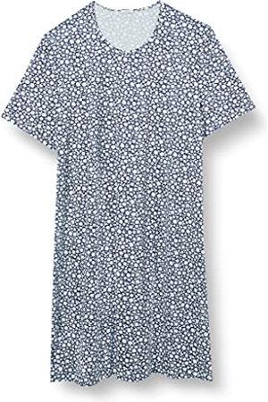 HUBER Dames slaapshirt korte mouwen nachthemd, Iceblue Flowers., 44