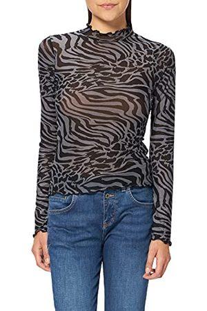 Urban classics Dames Dames AOP Mesh Turtleneck Longsleeve T-Shirt, asfalt/ , 5XL