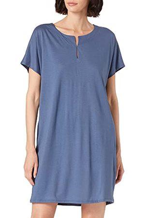 HUBER Dames slaapshirt korte mouwen nachthemd, Riviera Blue., 46