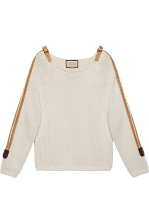 Gucci Wool knit sweater with leather detail