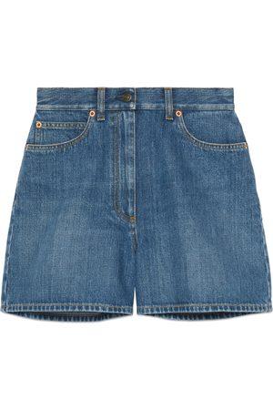 Gucci Dames Shorts - Denim shorts with Horsebit details