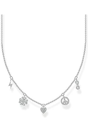 Thomas Sabo Dames halsketting met symbolen 925 sterling met zirkonia, lengte: 38cm - 42cm, KE2123-051-14-L42V