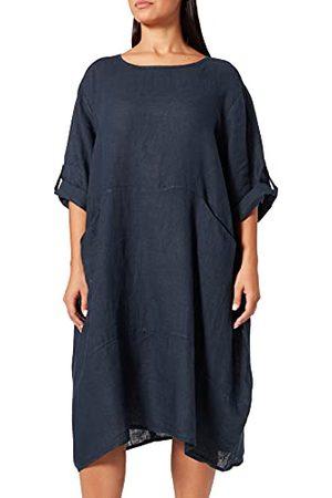 Bonamaison Fluid Halflange jurk voor dames, ronde kraag, lange mouwen en zakken, casual