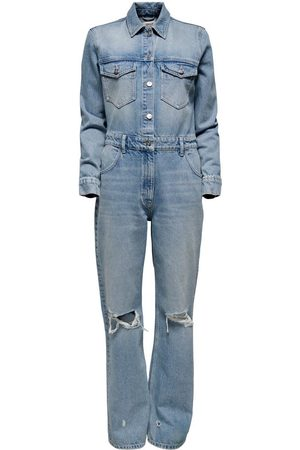 ONLY Ribbed Denim Jumpsuit Dames Blauw