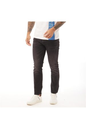 Crosshatch Heren Buraca Slim Jeans Gewassen Zwart