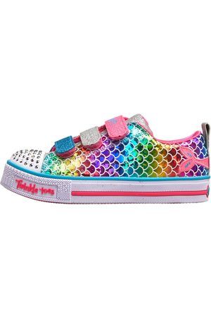 Skechers Twinkle Toes Lite Sparkle Scales Low Gympen Zilver