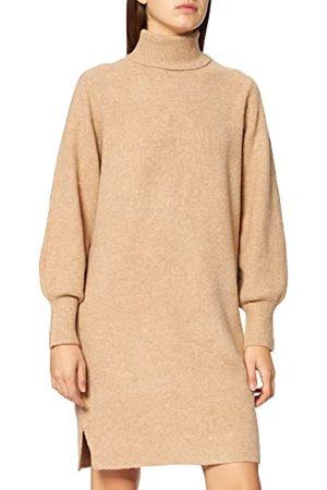 Pieces Dames Pcskyla Ls Roll Neck Wool Knit Dress Bc Jurk, silver mink, L