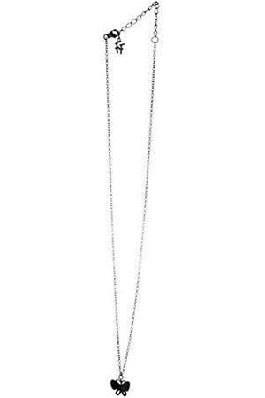 Folli Follie 3N17S043KK, dameshalsketting, sterling zilver, zwart, 24,5 cm