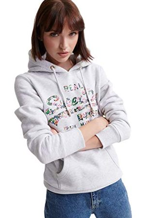 Superdry Dames Vl Gloss Floral Entry Hood capuchontrui, (Ice Marl 54g), S