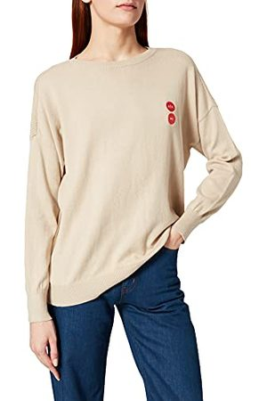 Armani Dames crewneck met geborduurd logo patch Icon Play and Stop Pullover Sweater