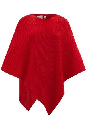 Allude Asymmetric Ribbed-knit Cashmere Poncho