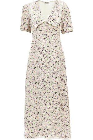 Miu Miu Exaggerated-collar Floral-print Sablé Midi Dress
