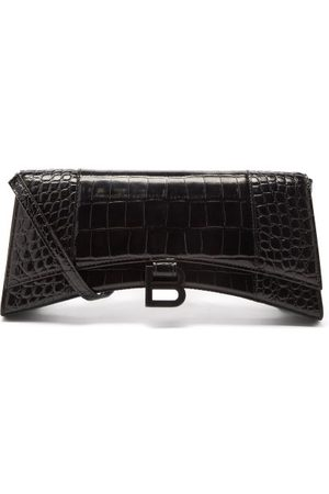 Balenciaga Hourglass Stretched Croc-effect Leather Bag