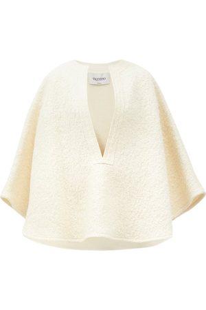 VALENTINO Notch-neck Wool-blend Bouclé Cape