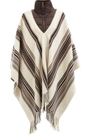 Chloé Quilted-collar Striped Cashmere-blend Rep Poncho