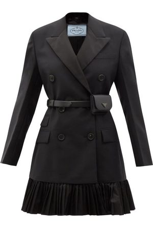 Prada Double-breasted Belted Mohair-blend Blazer Dress