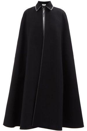 VALENTINO Leather-trim Wool Cape