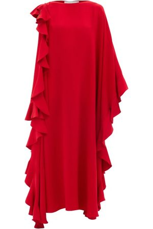 VALENTINO Waterfall-flounce Cape-sleeve Silk-crepe Gown