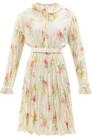 Balenciaga Floral-print Crinkled-silk Midi Dress