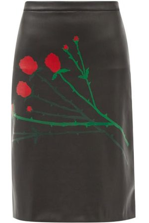 Bernadette Eva Floral-print Faux-leather Skirt