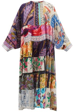 Rianna + Nina Patchwork Vintage-silk Maxi Dress