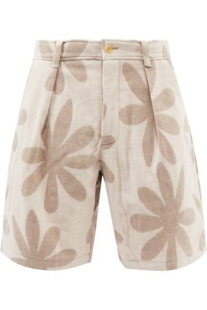 Jacquemus Floral-print Pleated Wool-blend Shorts