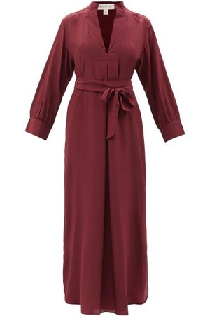 WIGGY KIT St Germain Polka-dot Silk-crepe Midi Dress